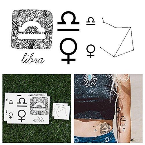 Tattify Astrologie Temporäre Tattoos- Waage (Set mit 14)