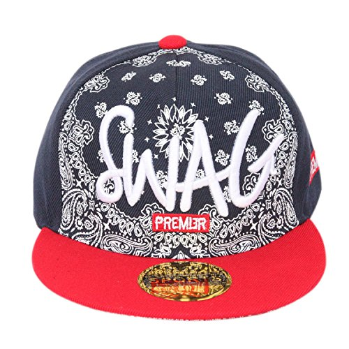ILU Swag Kid's Cotton Snapback Hiphop Cap Black and Red Freesize  available at amazon for Rs.499