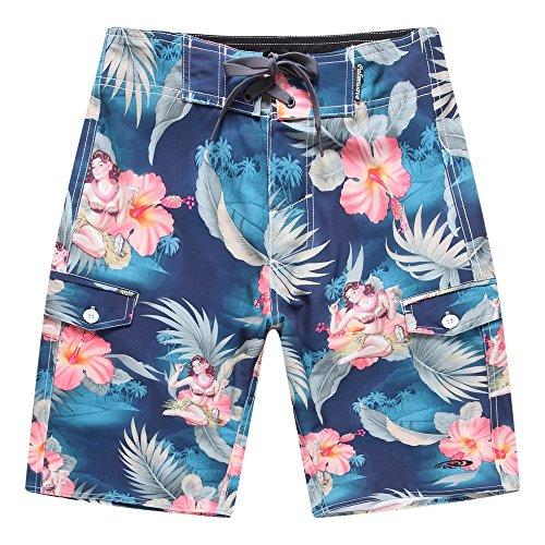 Hombres-Pantalones-cortos-con-bolsillo-para-uso-en-la-playa-en-Cctel-azul-de-la-muchacha-de-Hula-30