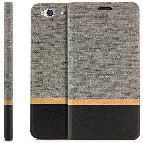 zanasta Tasche kompatibel mit ZTE Blade S6 Hülle Flip Case Schutzhülle Handytasche mit Kartenfach Grau