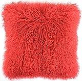 Snugrugs Mongolian Long Curly Wool Sheepskin Cushion / Pillow & Cushion Inner - 40cm x 40cm - Red
