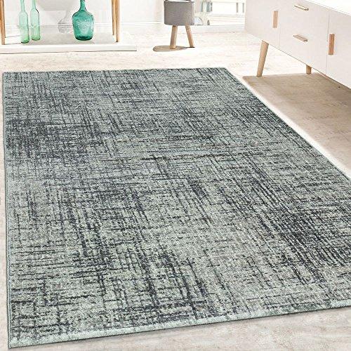 Tappeto di Design Pelo Corto Soggiorno mélange Motivo Forme Geometriche in Grigio, Dimensione:80x150 cm