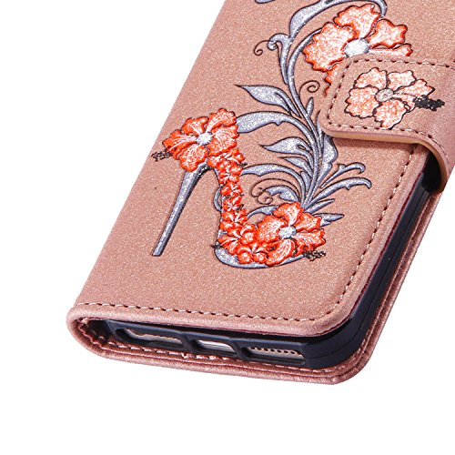 iPhone 5 5S 5G / iPhone SE Étui Housse, Coque iPhone 5 5S 5G / iPhone SE, Ecoway High heels pattern Series PU Case Cover Flip Cover Emplacement de Carte de Portefeuille Pour iPhone 5 5S 5G / iPhone SE Or
