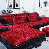 JiaQi Sofa abdeckungen für ledersofa,Anti-rutsch Multi-Size Atmungsaktive Sofabezug arm Staubschutz Couch-Protector für Hund Sofabezug arm Roten-Rotes Gleitschutzmittel 45x45cm(18x18inch)