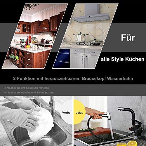 Homelody – Küchenarmatur mit 2 Brauseköpfen, Schwarz - 4
