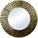 TXT Espejo de pared de madera color dorado diam. 80cm
