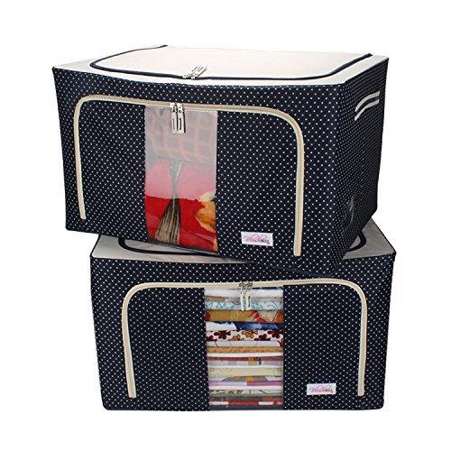 BlushBees® Living Box - Wardrobe Organizer, Jumbo Blanket Cover Bag - 88 Litre, Pack of 2, Polka Dots Blue