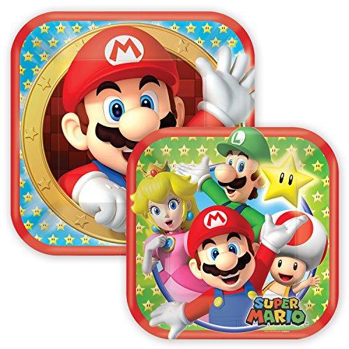 Party Pappteller Quadratisch SUPER Mario BROS. 18 cm + 23 cm - extra-stabil - 16 Einwegteller perfekt für Geburtstag, Party, Sommerfest, Kindergeburtstag & Co.