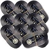 OVK - Set da 10 cinghie di fissaggio con cricchetto, 800 kg, 4 m, En12195-2, colore: Nero