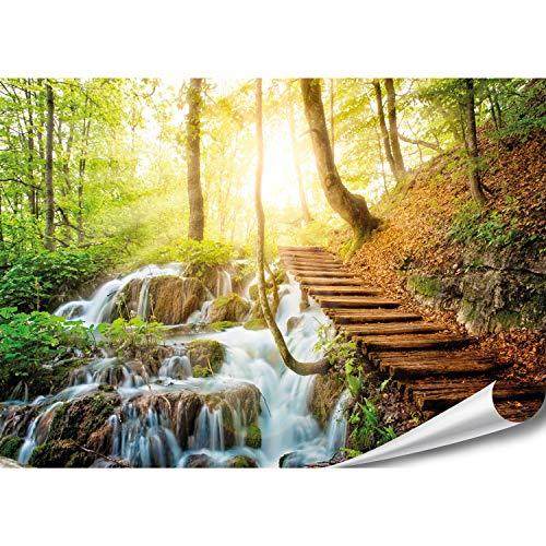 PMP-4life XXL Poster Waldtreppe neben Wasserfall | 140x100cm | hochauflösendes Wald Fotoposter, Natur Plakat extra groß, XL Wand-Bild | Wanddeko Bild Landschaft Bäume Wasser |