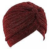 Frauen Turban Hut, Minkoll Unisex indische Art Stretchy Haar Kopf wickeln Cap Headwrap Schal Schlafmütze, Rotwein