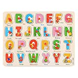 #7: FunBlast Wooden Colorful Learning Educational Board for Kids with Knobs, Educational Learning Wooden Board Tray, Size- 30 X 22 cm, Available in 4 Different Variants (Caital Letters)