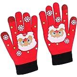 Aisoway 1 Paio Di Natale Guanti Maglia Stampato Touchscreen Gloves Warm Polsino Elastico Texting Mitts Per Le Donne Gli Uomin
