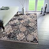 Traditioneller Klassischer Teppich für Ihre Wohnzimmer - Grau Creme Beige Schwarz - Patchwork Perser Orientalisches Muster - Top Qualität Pflegeleicht