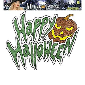 WIDMANN?Vetrofania calabaza Happy Halloween Glitter Unisex-Adult, multicolor, 36cm, vd-wdm1186X
