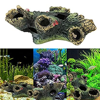 Rcool Home Fish Tank Aquarium Cave Resin Trunk Ornament Bole Landscape Decoration(12*7*11cm) 5