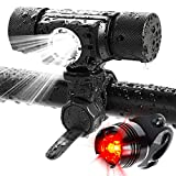 ADAMITA USB aufladbare LED Fahrradlicht Frontlichter und Rücklichter, 500 Lumen wasserdichte Fahrrad Scheinwerfer, 5 Modi Beleuchtung Rücklicht Fahrradlicht einfach zu installieren Sicherheit