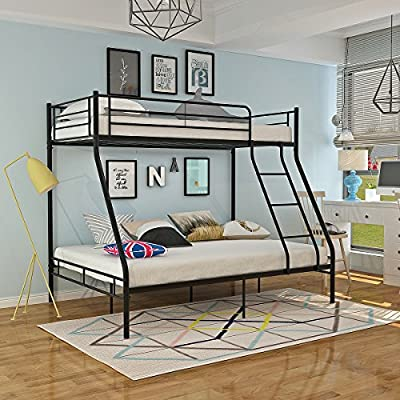 WEIBO Triple Bunk Beds, 3FT & 4FT6 Metal Bunk Beds Frame for Adult and Children, White/Gray/ Black