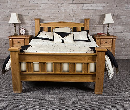 Bibury Oak Wooden Solid Bed Frame Rustic Chunky Wood 4ft6 Double and 5ft King (5FT KING)