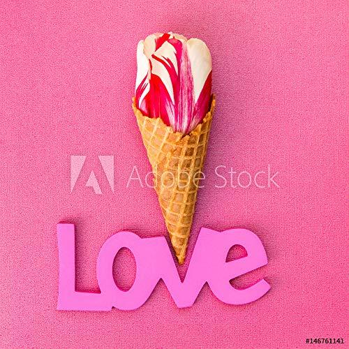 Ice Cream Tulip (druck-shop24 Wunschmotiv: Tulip Flower in The Ice Cream Waffle Cone #146761141 - Bild als Foto-Poster - 3:2-60 x 40 cm / 40 x 60 cm)