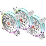 Noua Skiron White 3 Ventole PWM Dual Halo Slim RGB Rainbow Addressable 5V 3pin Cooling Fan da 120 mm Silenziosa 1200rpm…