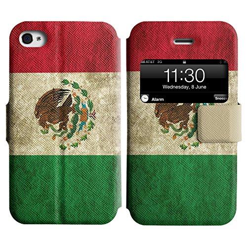 Graphic4You Vintage Uralt Flagge Von Mexiko Mexikanisch Design Leder Schützende Display-Klappe Brieftasche Hülle Case Tasche Schutzhülle für Apple iPhone 4 und 4S Mexiko Mexikanisch