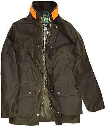 Wachsjacke New England Jager | Robuste Wind und wasserdichte Regenjacke | Für Jäger mit Hasentasche und Signalstreifen | Inklusive Kapuze