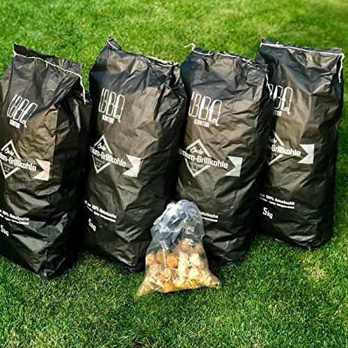 20kg (2x10kg) BBQKontor Buchengrillkohle Holzkohle Buche Grillkohle Buchengrillholzkohle Premium + 20 Stück Anzünder