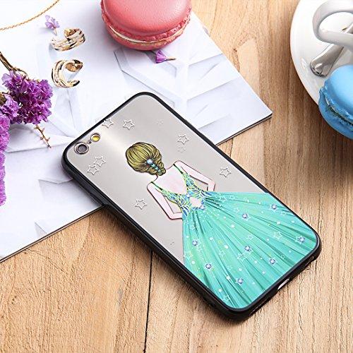 iPhone 6S Spiegel Hülle, Rosa Schleife Weiche TPU Silikon Schutzhülle Handyhülle Backcover Glitzer Mirror Cases mit Schmetterling schönes Mädchen Muster Design für iPhone 6S / 6 Rotes Kleid Grün Stern Kleid