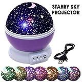 JJOnlineStore - Bébé Veilleuses Projecteur pour Enfants Enfants Romantique Star Lune Night Night Projection Lampe tournant 3 Modes