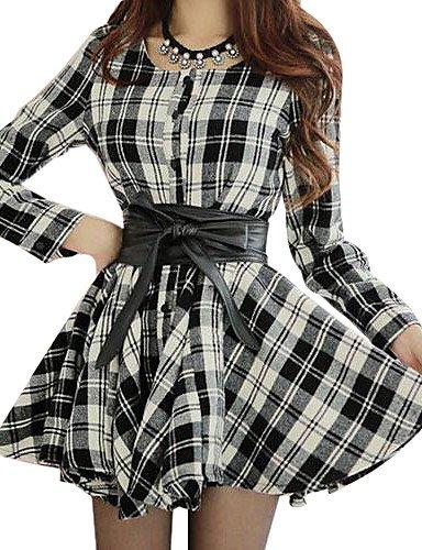 PU&PU mince vérifié à manches longues douce mini-robe des femmes black-s