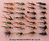 28 Braun Forelle / Äsche Fliegen Fischen Fliege GOLD KOPF NYMPHEN 33J-28 FÜR