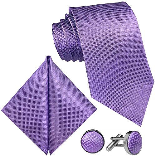 GASSANI GASSANI 3-SET Violette Krawatte Karo kariert | Manschettenknöpfe Einstecktuch | Krawattenset Flieder-Violett zum Anzug Seide-Optik