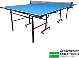 GYMNCO Practice Full Size Table Tennis Table with Wheel & Laminated Top, Table Cover, 2 Tt Racket & 3 Balls