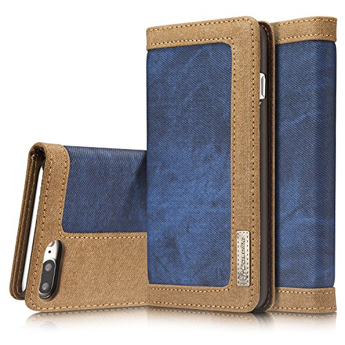 Preisvergleich Produktbild Roreikes Apple iPhone 7 Plus Hülle, iPhone 7 Plus Case (5.5 Zoll), [Denim-Serie-Mappen-Kasten] echten Premium Leinwand Flip Folio Denim Abdeckungs-Fall, Slim Case mit Ständer Funktion und Identifikation-Kreditkarte Slots für Apple iPhone 7 Plus (5.5 Zoll) - Blau