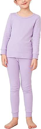 LAPASA Completo Intimo Termico per Ragazzo 100% Cotone Leggero e Caldo T-Shirt Maniche Lunghe & Pantaloni Invernali B10