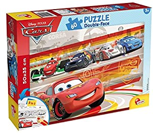 ColorBaby - Cars puzzle 60 piezas y doble cara coloreable, 50 x 35 cm (42662)