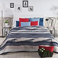 Sancarlos - Colcha moderna mare azul azul - reversible - doble tela - bordado jacquard