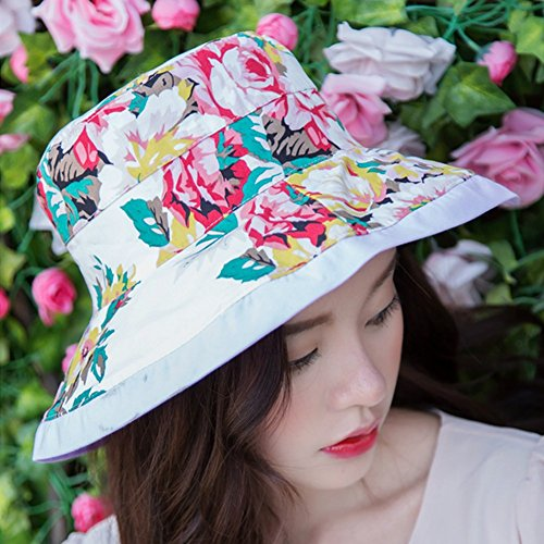 Summer Fashion pliant double face Visor Chapeau de soleil de Surker femmes rose rouge