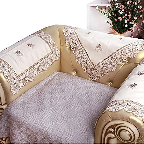 European Garden Sofa Towel/Hollow Embroidered Sofa Towel/Backrest Towel/Wave Handrail-A
