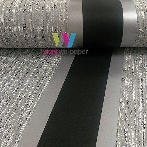 direct-striped-pattern-metallic-stripe-embossed-textured-blown-vinyl-wallpaper-black-silver-e87519