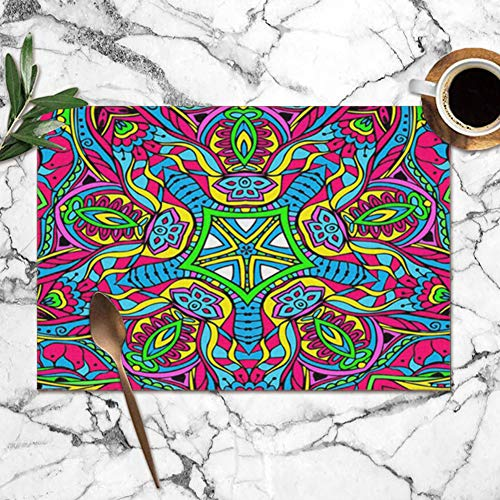 best gift Hand Drawn Abstract Psychedelic Ornament Pop Washable Placemats for Dining Table Double Fabric Printing Polyester Place Mats for Kitchen Table Set of 6 Table Mat 12