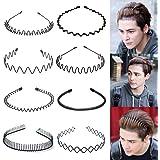 8 Stuks Hoofdbanden Golvend Haarband Lente Haar Hoop Zwart Unisex Mannen Vrouwen Slicked Terug Hoofdband Elastische Antislip
