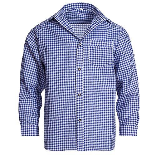 Herren Set Lederhose Schwarz und Trachtenhemd Blau Weiß Kariert Gr. Hose 58 Hemd XL - 4