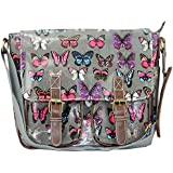 Miss Lulu Oilcloth Grey Butterfly Cross Body Satchel Shoulder Bag