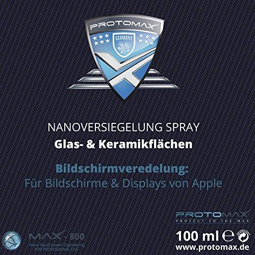 PROTOMAX Nanoversiegelung für Apple iPhone, Apple iPad, Apple iPad Mini, Apple Watch, Bildschirm, auch kompatibel Displayschutzfolien & Schutzgläsern | Panzerglas, flüssiger Schutzfilm, BILDSCHIRMVEREDELUNG mit Nanotechnologie (100 ml)