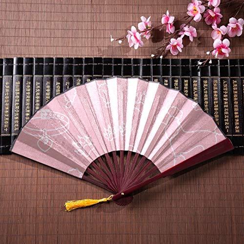 EIJODNL Kompakte Hand Fan Pudel Kamm Kragen Dog Track Pink mit Bambus Rahmen Quaste Anhänger und Stoffbeutel Bambus Fan Wand Cute Chinese Fan Chinese Folding Fan
