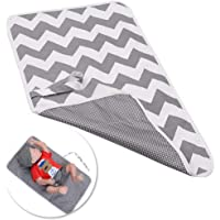 Leful Nappy Changing Mat, Foldable Diaper Pad Waterproof Travel Changing Mat with Gray Waves for Home Travel Outside