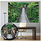 GREAT ART XXL Poster - Hängebrücke - Wandbild Dekoration Dschungel Landschaft Natur Adventure Brücke Regenwald Busch Tropen Urwald Holzbrücke Wandposter Fotoposter Wanddeko (140 x 100 cm)
