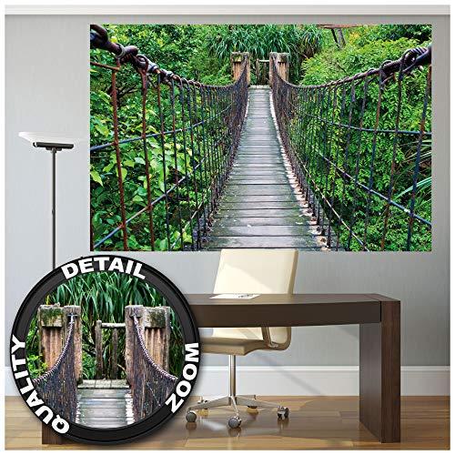 Great Art Fototapete - Hängebrücke - Wandbild Dekoration Dschungel Landschaft Natur Adventure Brücke Regenwald Busch Tropen Urwald Holzbrücke Foto-Tapete Wandtapete (210 x 140 cm)
